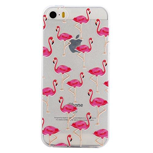 iPhone 5S / iPhone SE Hülle, Voguecase Silikon Schutzhülle / Case / Cover / Hülle / TPU Gel Skin für Apple iPhone 5 5G 5S SE(Weiß Katze 09) + Gratis Universal Eingabestift Rot-gekrönter Kran 04