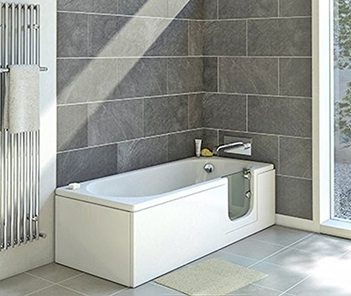 Badewanne mit Tür, Seniorenbadewanne 150x70x51cm mit Wannenschürze und Ablauf/Sifon, Ausführung Rechts