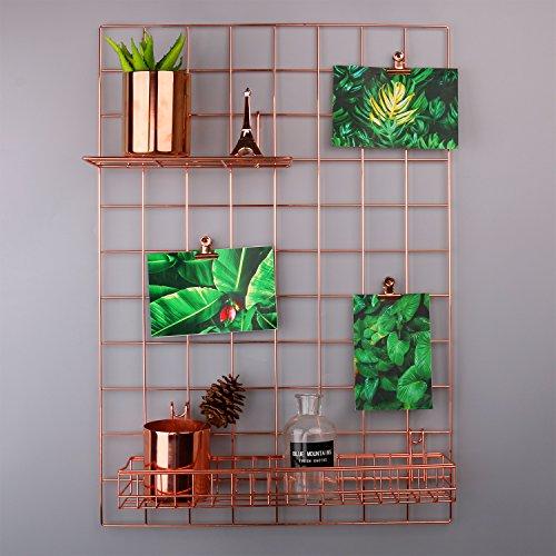 "rumcent Mesh Grid Panel, Wall Decor/Foto/Art Wand Display/Organizer, Memo Board Wand Art Decor/Display & organizer-rose Gold, metall, rose gold, 25.6""L x 17.7""W"