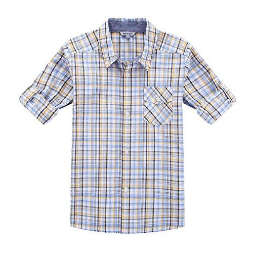 Bienzoe Jungen Baumwolle Plaid Knopf Unten Hemd Gelb Blau Größe 5/6 (Größe Kurzarm-shirts Jungen 6)