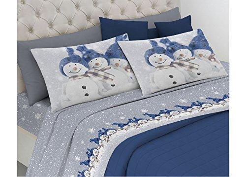 Completo lenzuola in morbida flanella disegno snowman 2 piazze matr.le blu