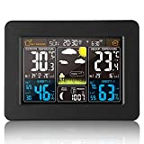 Stazione Meteo Automatica Digitale Wireless Meteorologica con Ampio Schermo LCD Display Sveglia,Stazione Meteorologica con Wireless Sensore,Tempo Data Temperatura umidità Previsioni di Tempo