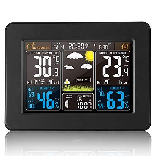Estación Meteorológica Interior y Exterior con Sensor Inalámbrico al Aire Libre,color digital Estación...