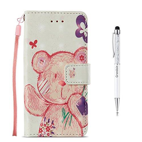 Preisvergleich Produktbild Galaxy S7 Hülle [Lebenslange Garantie], Grandoin Handyhülle im Brieftasche-Stil für Samsung Galaxy S7 Handytasche PU Leder Flip Cover 3D Bunte Muster Book Case Schutzhülle Etui Case (Panda)