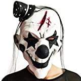 Black and White Scary Clown Mask Full Face Cosplay Horror Masquerade Adult Ghost Mask
