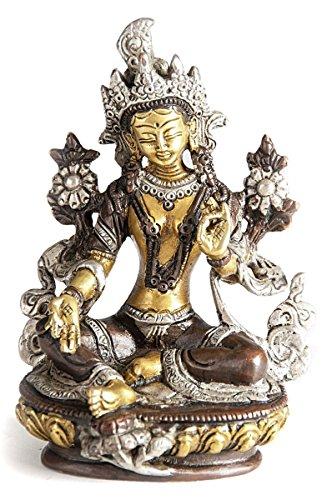 Deko Figur Grüne Tara Buddha Figur aus Messing massiv, Höhe 14 cm groß, Dölma Statue Shyama-Tara weiblicher Buddha auf Lotusthron (Große Messing Statue Buddha)