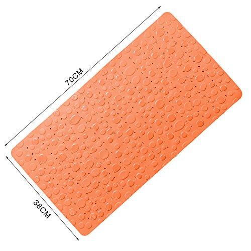 Rutschfest umweltfreundliche Cobblestone Pebble Weiches Gummi Massage Dusche Badewanne Baden Badematte mit Saugnapf, Orange, 15.0*27.6 Inch