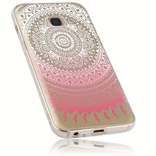 mumbi Hülle kompatibel mit Samsung Galaxy A3 2017 Handy Case Handyhülle mit Motiv Mandala rosa, transparent