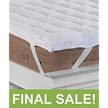 PREMIUM New 5cm Deep SINGLE SIZE Microfibre Mattress Topper with Peach Feel Microfibre Casing, Boxed Stitched & Elasticated Corner Straps from Lancashire Bedding