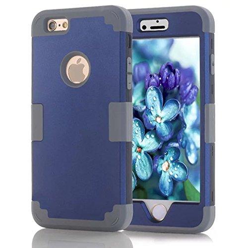 Lantier iPhone 6 / 6s Bonbons Color Series - hybride de l'Intérieur en silicone souple et étui de protection du corps dur PC Shield Extérieur léger antichoc complet pour iPhone 6, iPhone 6S Noir + or Grey+Deep Blue
