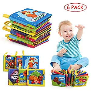 LinStyle Baby Cloth Book Set, 6 PCS Soft Books Toys, Baby Bath Book, Safe Nontoxic Biteable Early Learning Books for Early Education Intelligence Development Best Gift for Your Unique Baby