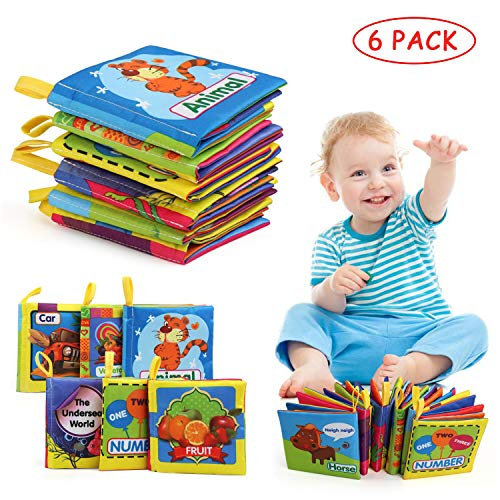 LinStyle Libros Blandos para Bebé, Libro de Tela Bebé, Libro Activity Tejido Blando Papel del Bebé Juguete para Bebé Recién Nacido Entretenimiento Aprendizaje Educativo - 6 Piezas