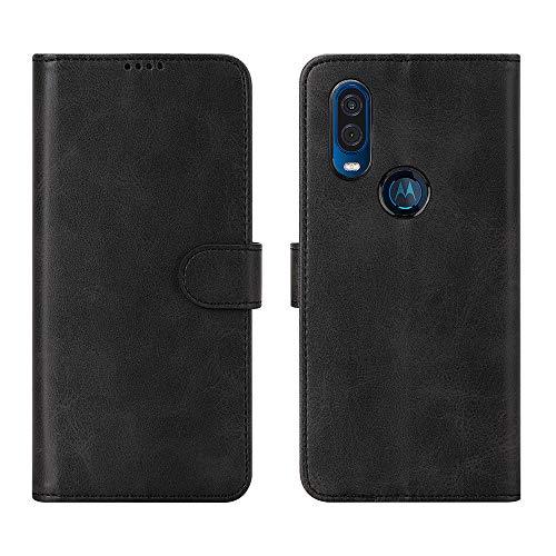 CRESEE Hülle für Motorola One Vision, Leder Tasche mit Kartenfächer, Magnetverschluss Schutzhülle Flip Cover Case Standfunktion Stoßfest Brieftasche für Moto One Vision (Schwarz)