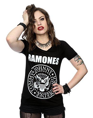 Ramones mujer Presidential Seal Manga de la camiseta del rollo Large Negro