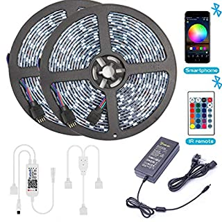 Bluetooth LED Strip Lights, ALED Light5050 10M (2 x 5M) 300 LED Stripes Lights Smart-Phone Controlled Waterproof RGB LED Band Light for Home&Outdoor Decoration