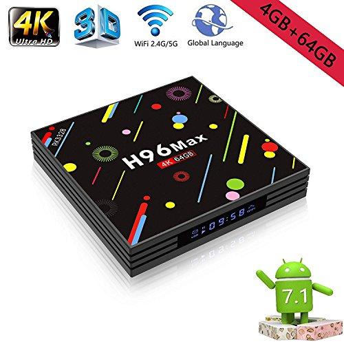 H96 Max Android 7.1 TV-Box 4 GB + 32 GB 4K Ultra HD Smart TV-Box RK3328 Quad-Core 64bit CPU 2,4G / 5G Dual-Band Wifi 100M LAN 3D H.265 Set Top-Box mit Fernbedienung