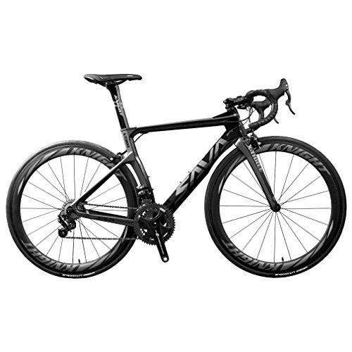SAVADECK Phantom 8.0 700C Carbon Rennrad Fahrrad mit CAMPAGNOLO CHORUS 22 Geschwindigkeitsgruppe MICHELIN 25C Reifen und Fizik Sattel (50cm, Grau)