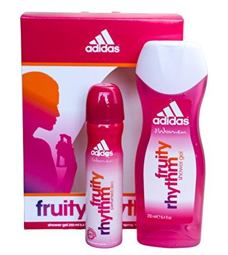 Adidas, Fruity Rhythm Deo, Set da regalo per donna, incl. deodorante spray e gel doccia, 75 ml e 250 ml