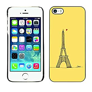 Omega Covers - Snap on Hard Back Case Cover Shell FOR Apple iPhone 5 / 5S - Love Yellow Paris Eifel Tower Tour Heart