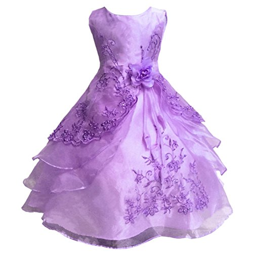 LPATTERN Mädchen Kleider Schöne Kleinkinder Kleid Blume Partykleid Brautkleid ,Lila ,130