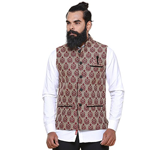 Twist Mens Designer Sleeveless Festive Nehru Jacket Casual Wear Plain Waistcoat (Beige)  available at amazon for Rs.999