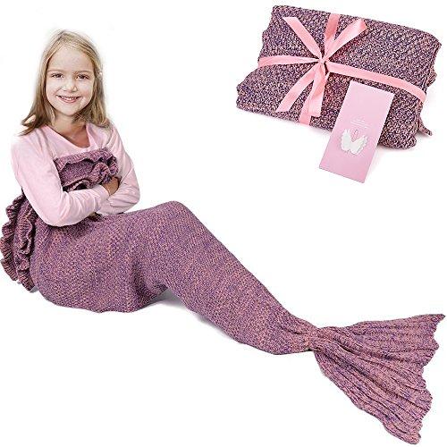 Meerjungfrau-Schwanz-Decke für Geburtstags-Geschenke, RUVALINO Süße Träume für Mädchen 3-12 Jährige, alle Jahreszeit-Schlafsack für Kinder 140 * 70 cm (Meerjungfrau Kleine Jahr)