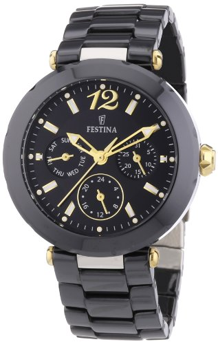 Festina Women's Quartz Watch with Black Dial Analogue Display and Black Ceramic Bracelet F16641/4