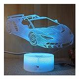 ZDVHM 3D Illusion Nachtlampe Racing Car Illusion Lampe LED 3D-Nachtlicht Farbe 7, die Kinder USB Schlaf Light Desk Tischdekoration Weihnachten Geburtstag Geschenk-Spielzeug