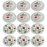 Retsch Arzberg 285585301 Pizzateller 'Pomodoro & Spezia' Ø 30cm, Porzellan, weiß/grün/rot, 12-teilig (1 Set)