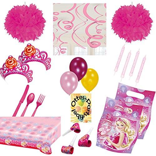 s Partyset 77tlg. für 6 Kinder Tischdecke Mitgebseltüten Luftrüssel Krönchen Kerzen Luftballons Spiralen Besteck Pompoms ()