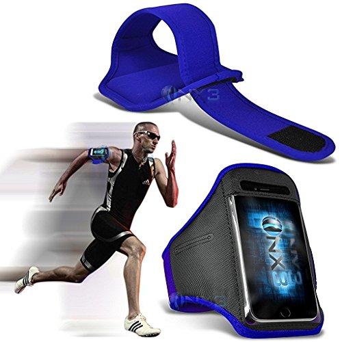 ONX3 Samsung Galaxy Xcover 4 Case (Blau) Fall-Abdeckung Einstellbare Fitness Laufen Jogging Radfahren Gymnastik-Armbinde-Halter