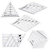 Manyo Set di 5piquer cucito patchwork artigianato righello, varie forme, Triangolo/parallélogramme/trapezoidale/Hexagone