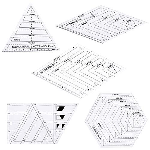Manyo Piquer Couture Patchwork-Handwerk, Lineal, verschiedene Formen, Dreieck/Parallelogramm, Trapez/Hexagon, 5 Stück