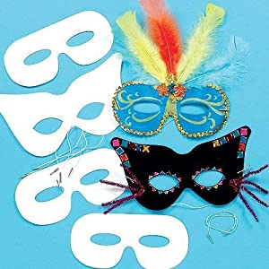 Baker Ross Decorate Your Own Eye Masks (Pack of 12) For Kids To Decorate and Fancy Dress