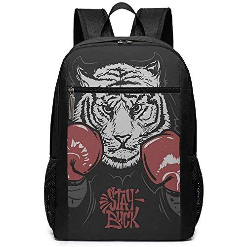 Ivya backpacks Tiger in Boxhandschuhen Laptop Rucksack College Jugend Schultasche Reise Klassiker Rucksäcke für Jungen und Mädchen Passend für Laptop und Tablet