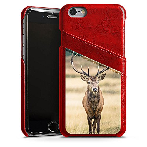 Apple iPhone SE Lederhülle Leder Case Leder Handyhülle Hirsch Wald Tier Leder Case Rubinrot