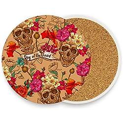 FAJRO - Posavasos con diseño de calavera del Día de los Muertos de 9,9 cm para todas las tazas, madera, 1, 4 pieces set
