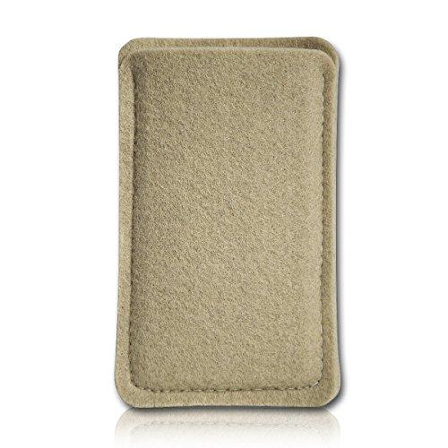 Filz Style Mobistel Cynus E4 Premium Filz Handy Tasche Hülle Etui passgenau für Mobistel Cynus E4 - Farbe beige
