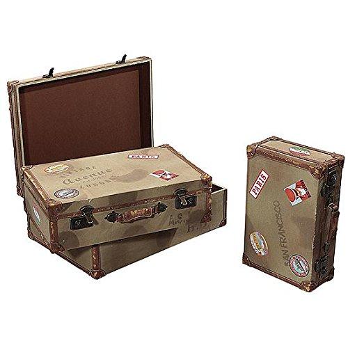 DekoWoerner Kofferset eckig Vintage oliv 3tlg.