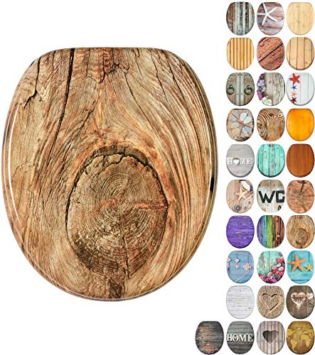 WC Sitz mit Absenkautomatik, viele schöne Holz WC Sitze zur Auswahl, hochwertige und stabile Qualität (Rustikal)
