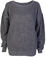 Ladies Long Sleeve Chunky Knitted Oversize Jumper (One Size 8-14, Charcoal)