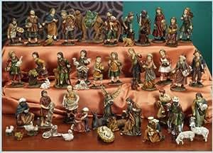 Presepe natività composto da 47 statue in resina decorata alte fino a 11 cm