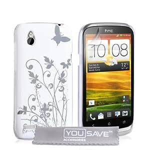 HTC Desire X Tasche Desire X Weiß / Silber Harte Blumen Schmetterling Hülle
