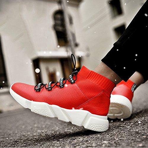 YIXINY Scarpe sportive LAB-1896 Sneakers Stivali Da Neve Stivali Corti Maschili Stivali Duantong Martin Antiscivolo Nero, Rosso ( Colore : Nero , dimensioni : EU39/UK6/CN39 ) Rosso