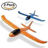 Romote 2 Pack d'avion de Lancer Manuel Amusant Défi Sports de Plein Air Jouet Modèle Mousse Avion Cadeau pour Les Enfants (Bleu et Orange)