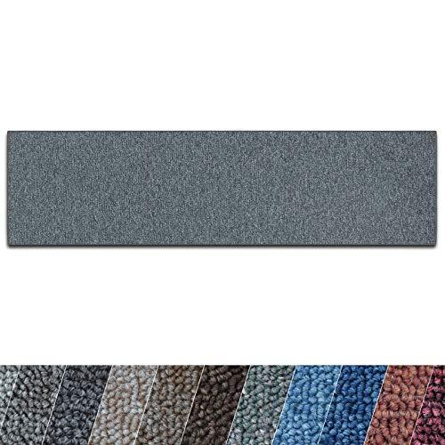 casa pura Teppich Läufer London | Meterware | Teppichläufer für Wohnzimmer, Flur, Küche usw. | Flacher Schlingenflor | mit Stufenmatten kombinierbar (Dunkelgrau - 80x500 cm)