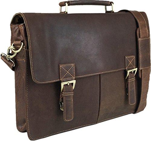 UNICORN Vera Pelle 16.4 Pollici Laptop Borsa Messenger Valigetta - Sand Khaki #9G