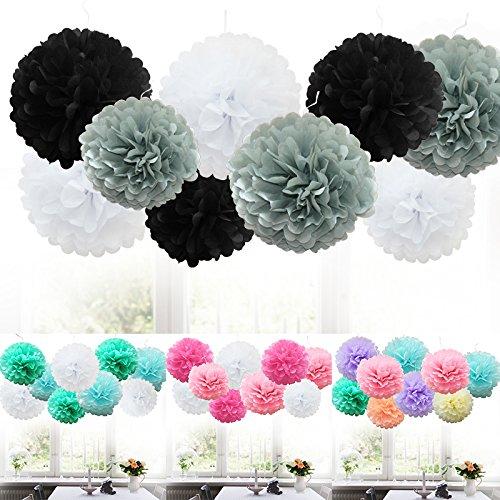 TtS 9 MIX Seidenpapi PomPoms PomPons Blumen Hochzeit Party Dekoration (Black Shade)