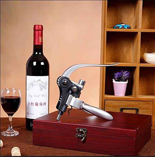 Cooko Kit de Abridor de Vino, Acero Inoxidable Rojo Vino Cerveza Abrebotellas Sacacorchos de Alas, Vino Aireador, Termómetro, Tapón, y Set de Accesorios Para con Oscuro Madera de Cerezo caso - 9 Piezas - 2