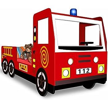 Car Bed Fire Engine Truck Toddler Childrens Kids Bedroom Furniture 90x200cm Incl. Slatted Frame